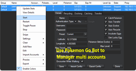 use pokemon go bot to manager multiple accounts