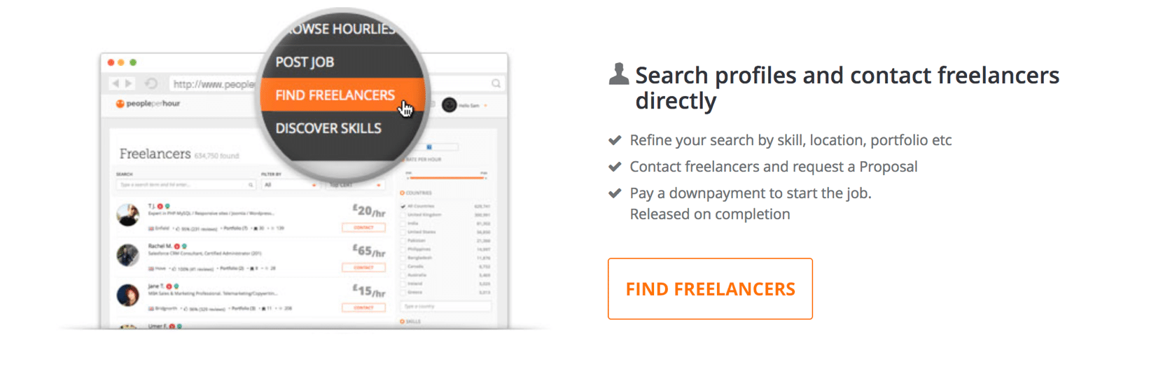 Contact information of Freelancers