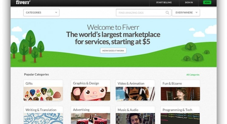 Fiverr Homepage For Buyers