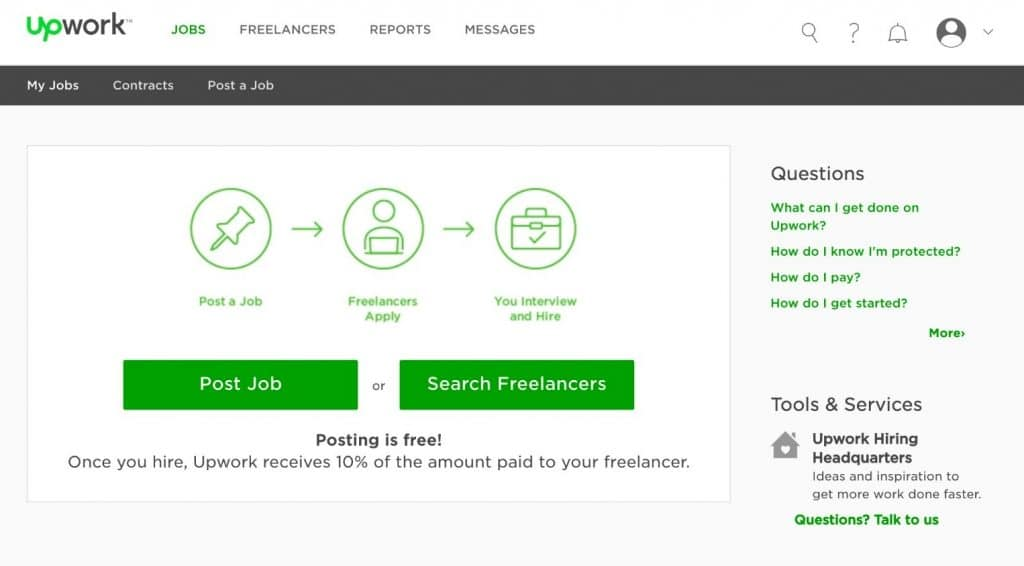 Upwork User Interface for Hiring Freelancers