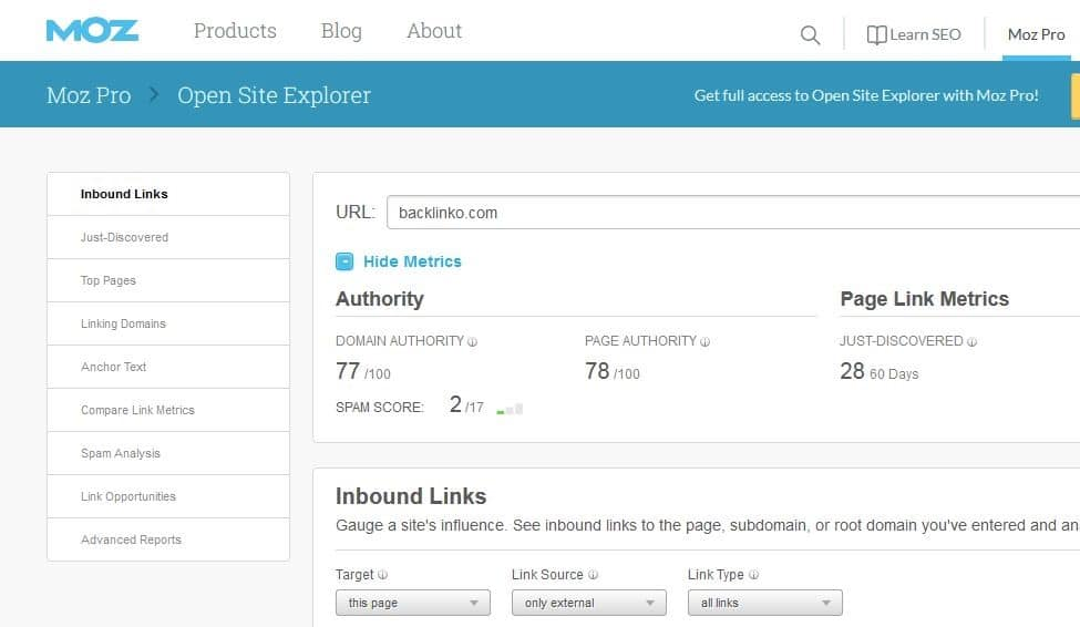Moz Backlink Checking Tool