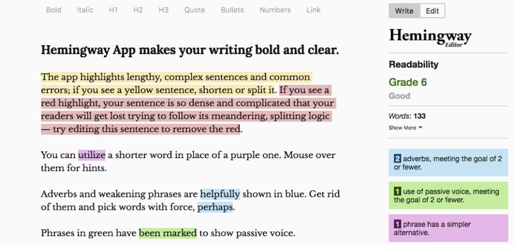 Hemingway App Grammar Check