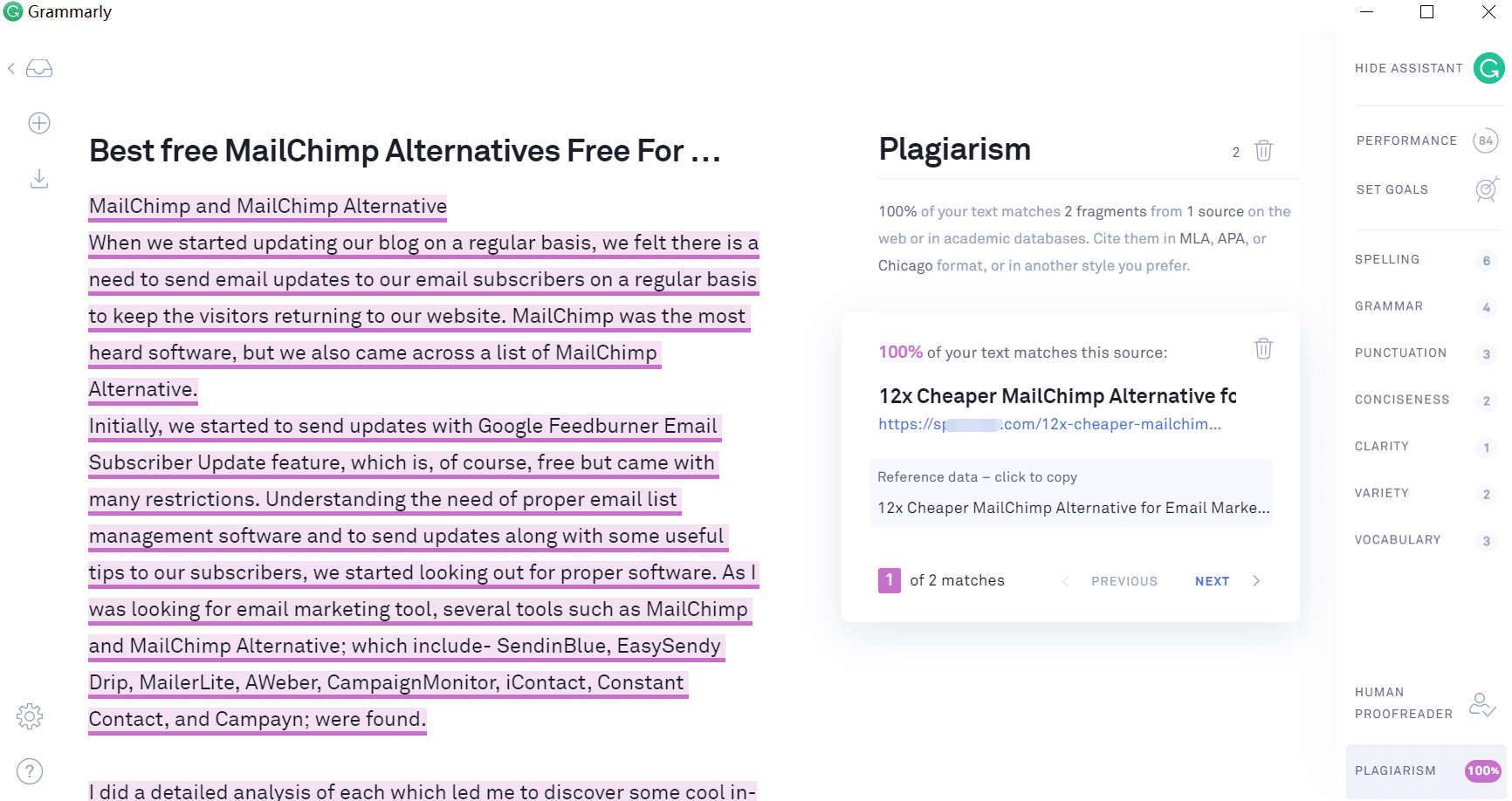 Grammarly for Plagiarism Checking Tool