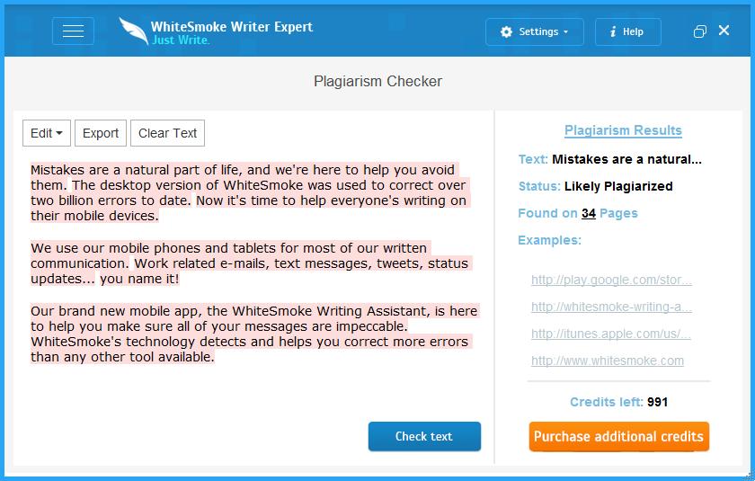 Whitesmoke - Plagiarism Tool