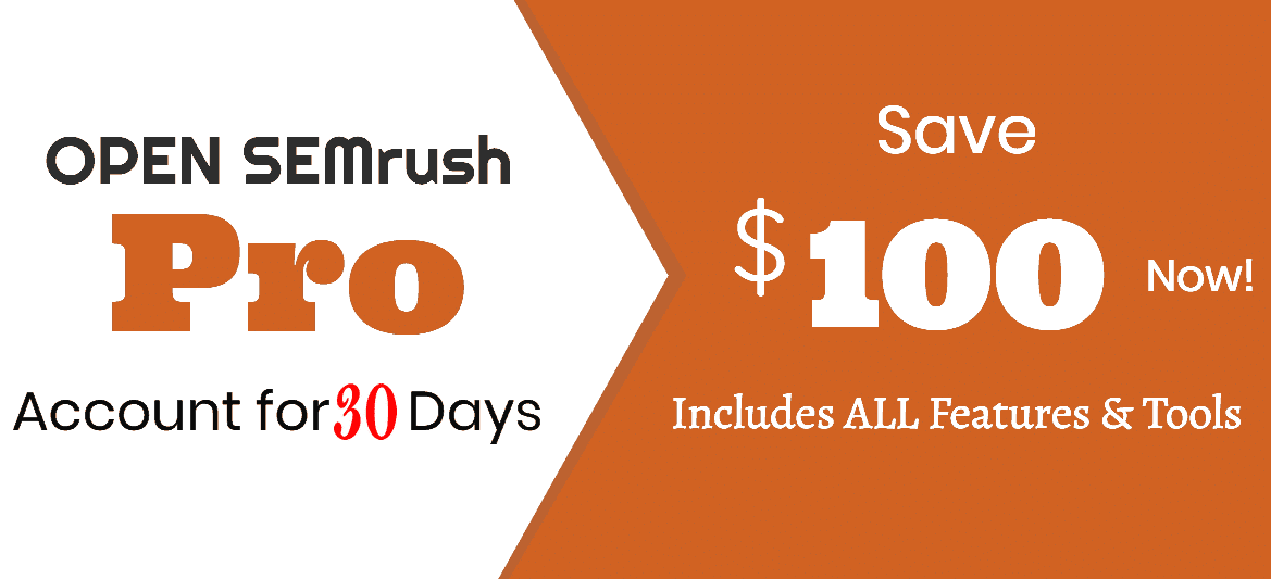 30 day Semrush PRO Free trial for 30 days
