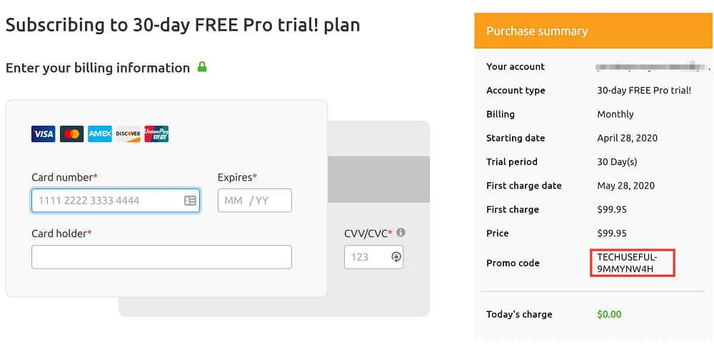 semrush Free pro account plan 30 days for $0.00
