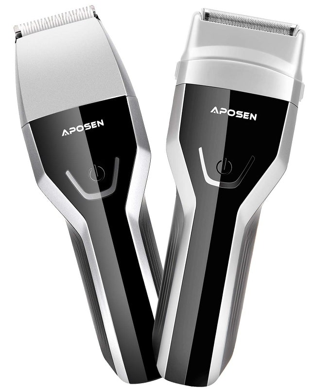 APOSEN Cordless Hair Clippers 2 in 1 Wet Dry Rechargeable Foil Shaver