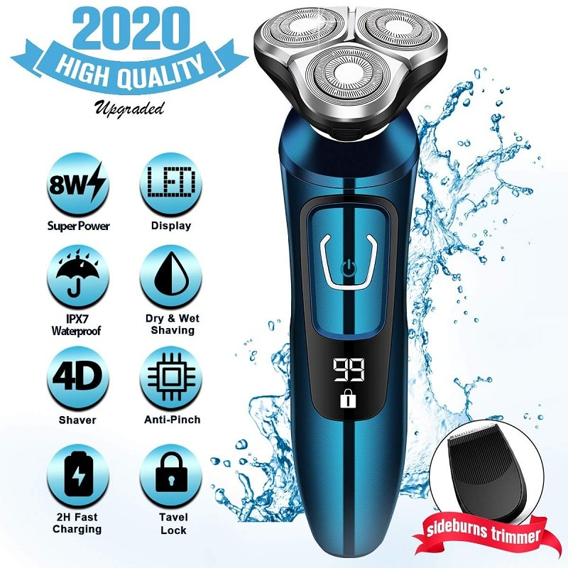 AdHopeDry Wet Waterproof Men's rotary facial shaver