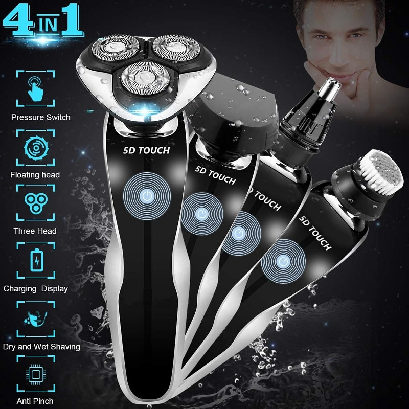 Electric Razor AdHope Men's 4 in 1 Dry Wet Waterproof Rotary Shaver
