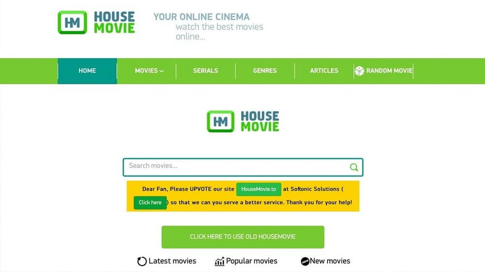 House Movies Home page