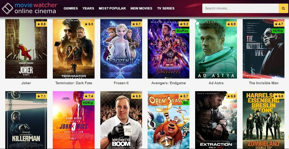 Movie Watcher home page