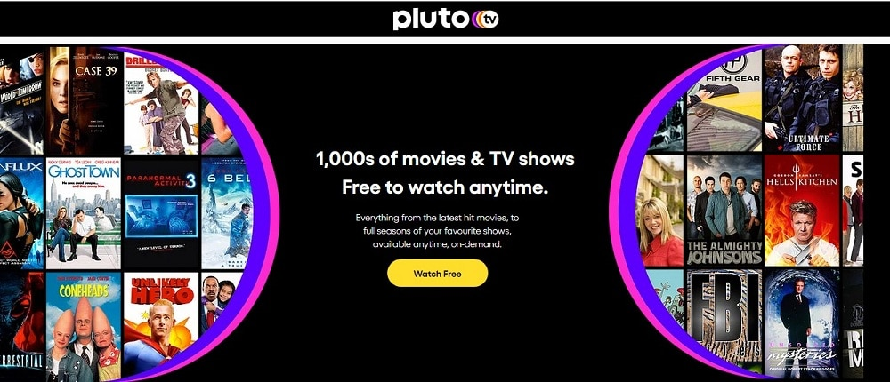 Pluto TV home page