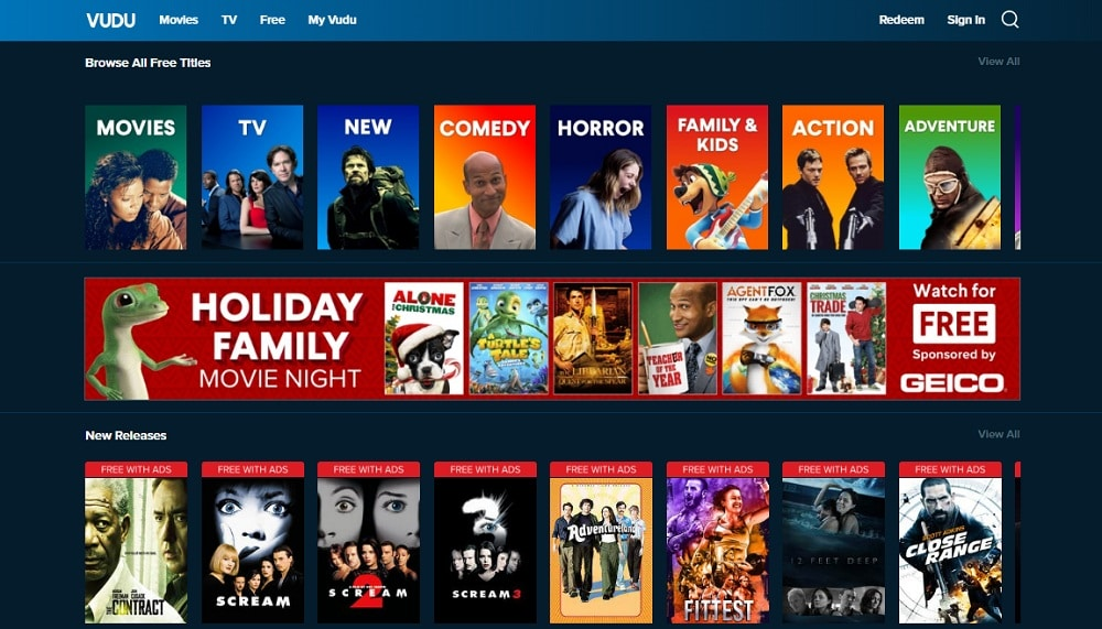 Vudu Home Page