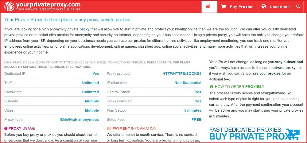 YourPrivateProxy homepage