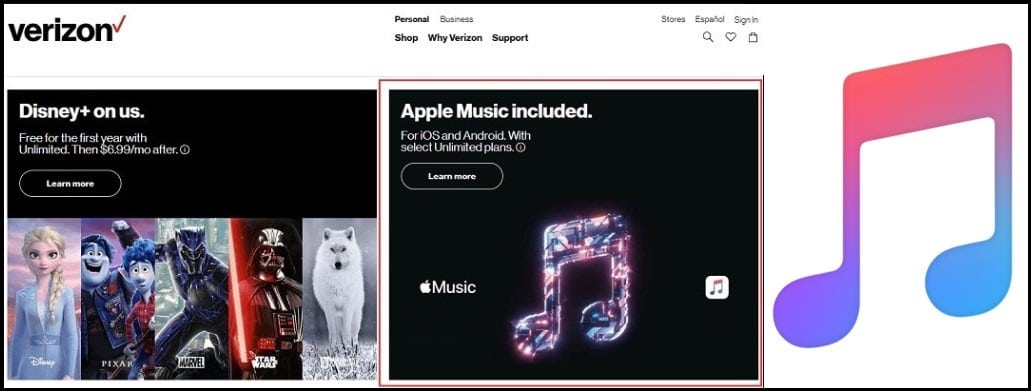 Verizon Unlimited for apple music